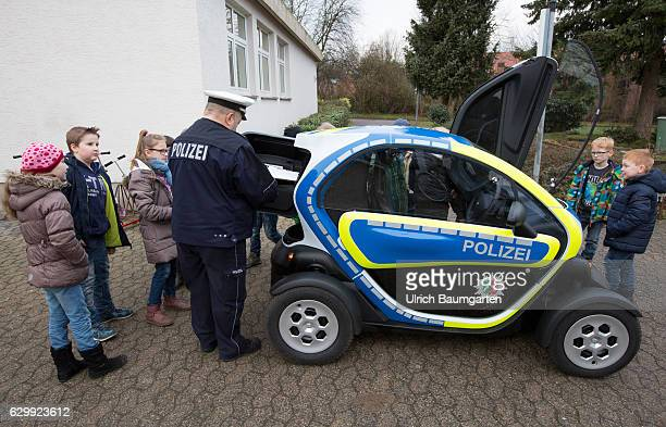 They look droll but they are officially on the road The police rely on Renault minielectriccars with the name Twizy The photo shows a policeman with...