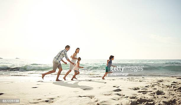 They love to play tag on the beach
