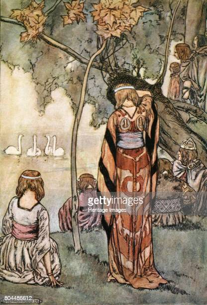 They made an encampment and the swans sang to them' c1910 The story of the Children of Lir Bov the Red King of the De Danaan people visits the shores...