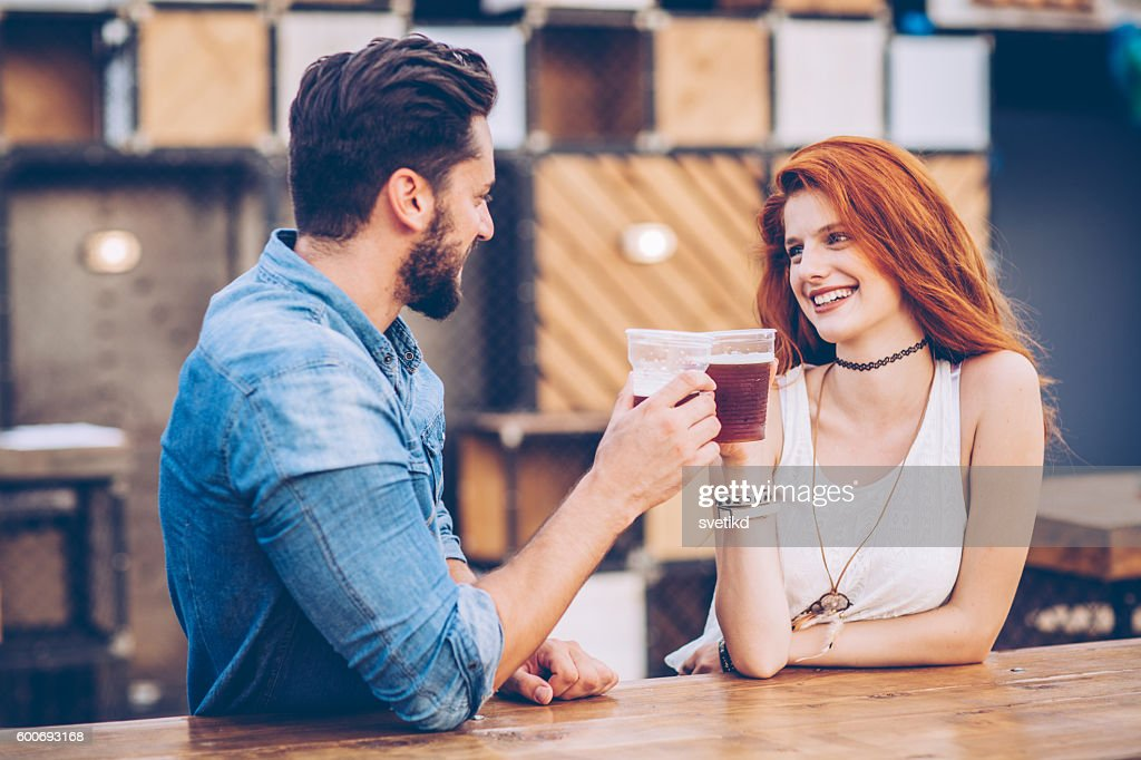 They met at music festival : Stock Photo