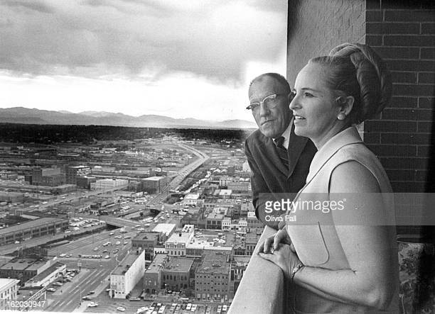 MAY 25 1970 JUN 5 1970 JUN 7 1970 They Run Brooks Towers Bruce O'Brien and his wife Elaine are shown on balcony of their new office on the 33rd floor...