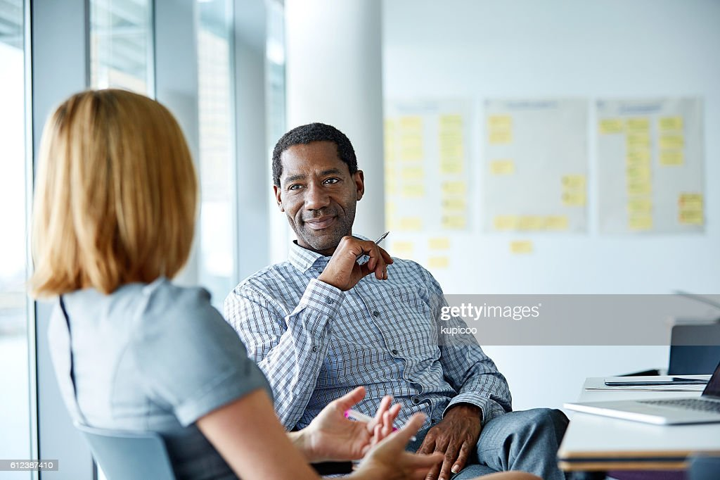 They share a great working relationship : Stock Photo
