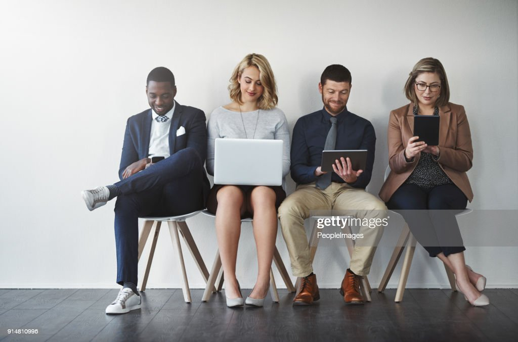 They were all shortlisted, they are experienced in the job : Stock Photo