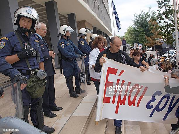 They were protesting the imposition of a restraining order by the Aristotelion University following attempts to bring in strike breakers to take the...