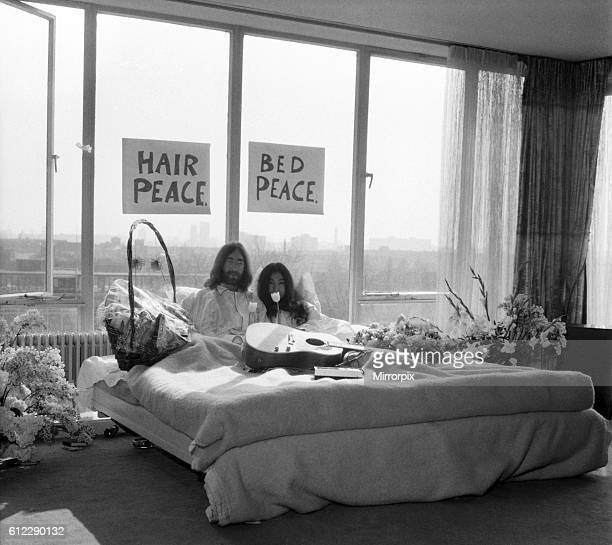 They will stay in bed for seven days with fruit flowers and peace signs March 1969 Z02902013