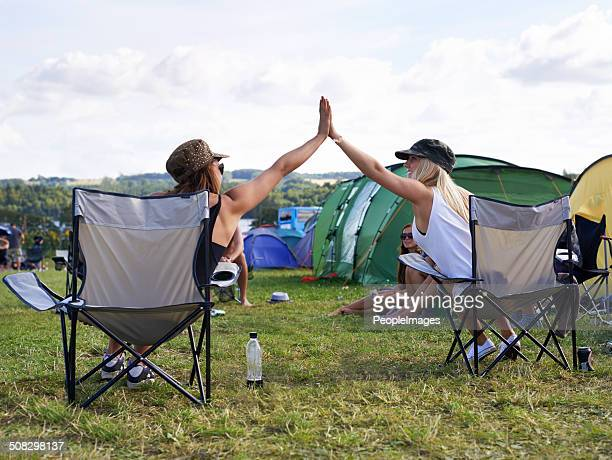they're a couple of happy campers - music festival stock pictures, royalty-free photos & images