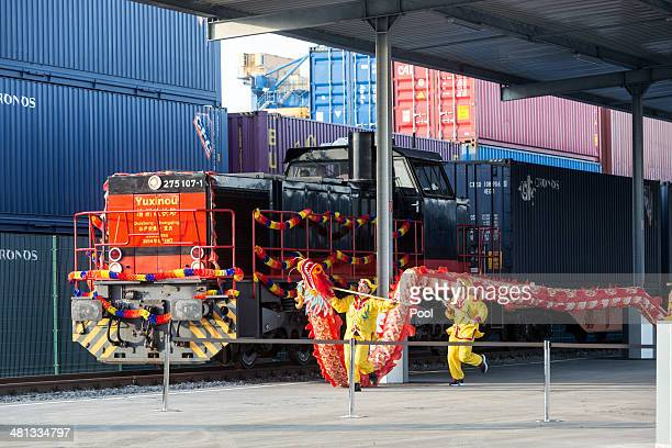 TheYuxinou container train arrives at the Logport terminal on March 29 2014 in Duisburg North RhineWestphalia Germany Chinese President attended the...