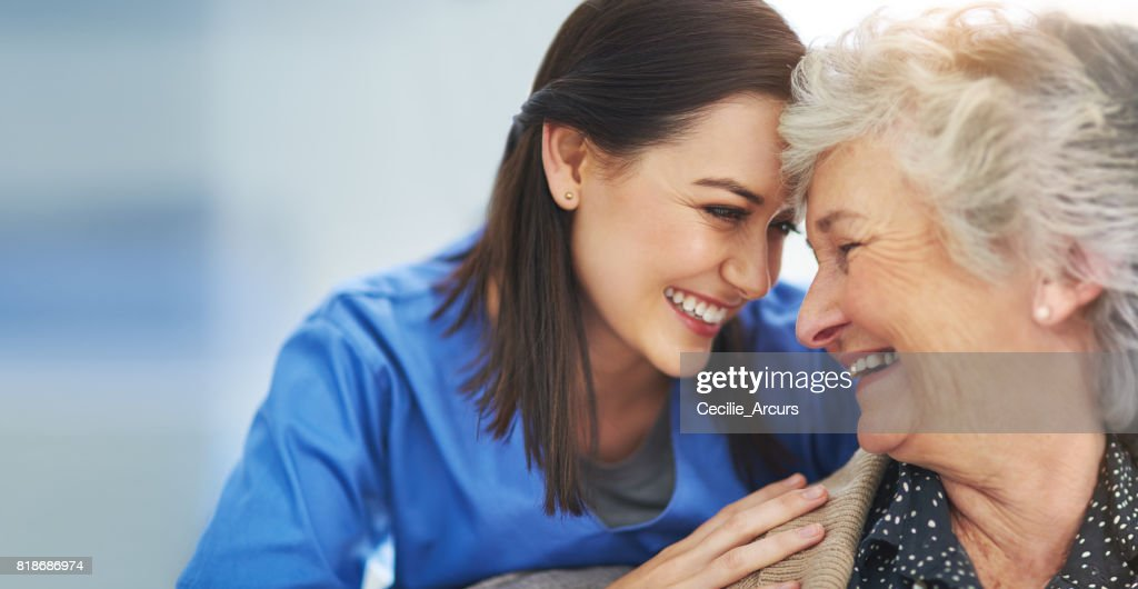 They've developed a bond through years of care : Stock Photo