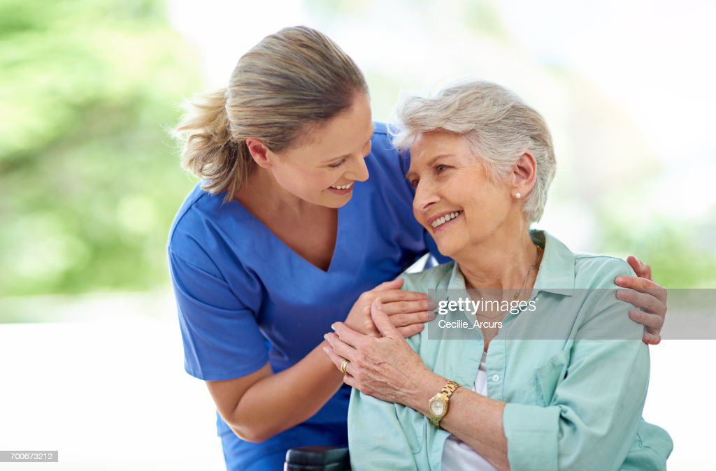 They've formed a friendship over the course of her care : Stock Photo