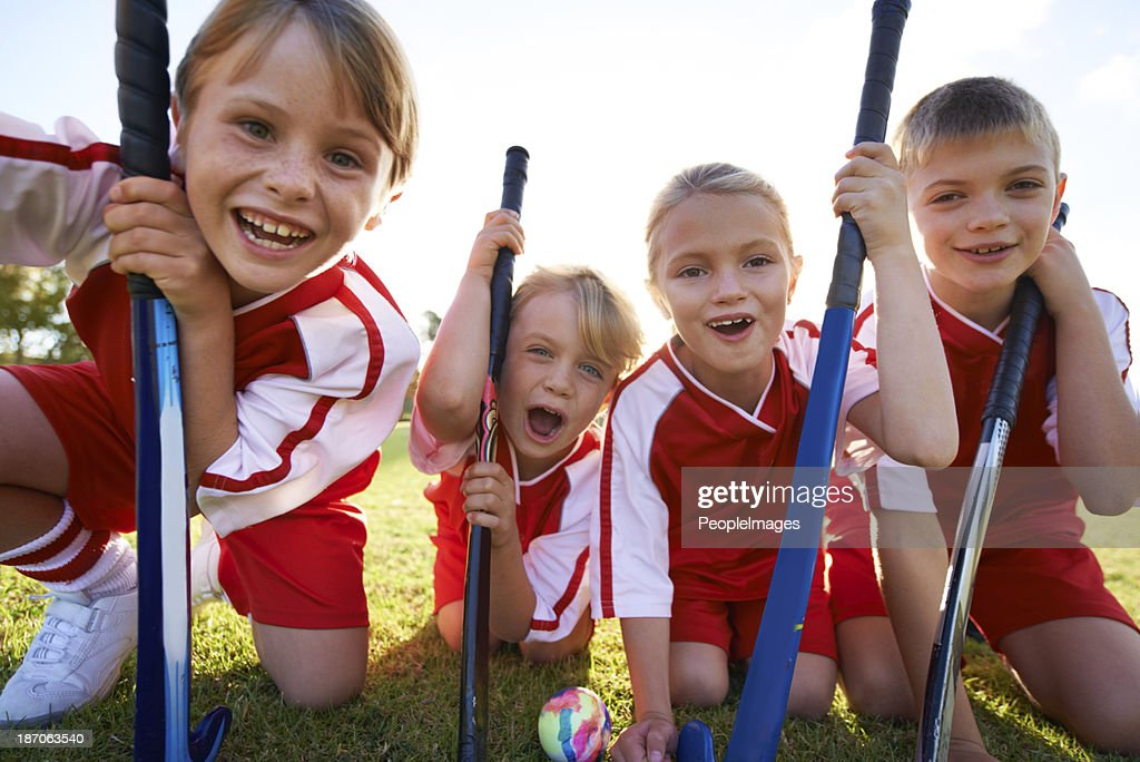 They've got strong team spirit! : Stock Photo