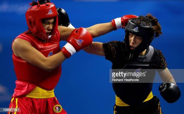 Thi Bich Nguyen of Vietnam and E Meidie of China compete in the Women's Sanshou Wushu 52kg Final during day five of the 16th Asian Games Guangzhou...
