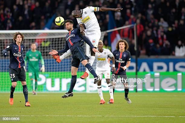 Thiaggo Motta of Paris SaintGermain in action during the Ligue 1 game between Paris SaintGermain and Angers SCO at Parc des Princes on January 23...
