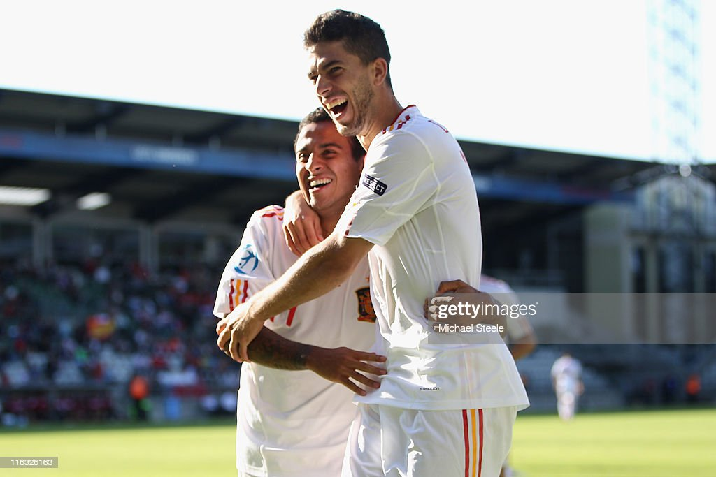Thiago Alcantara (L) and Didac Vila Rosello (R) celebrate their sides second goal scored by Adrian during the UEFA European Under-21 Championship Group B match between Czech Republic and Spain at the Viborg Stadium on June 15, 2011 in Viborg, Denmark.