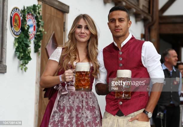 Thiago Alcantara and his wife Julia Vigas attend the Oktoberfest beer festival at Kaefer Wiesenschaenke tent at Theresienwiese on October 7 2018 in...