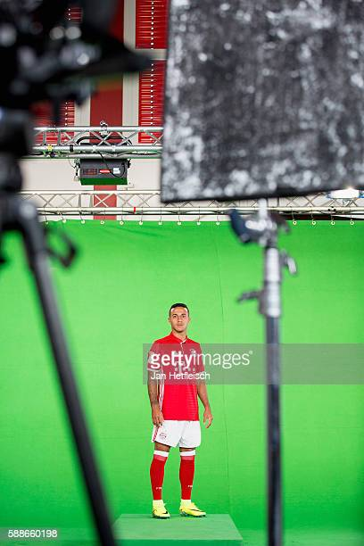 Thiago Alcantara is seen in a recording studio during the DFL Media Day on August 2016 in Munich Germany