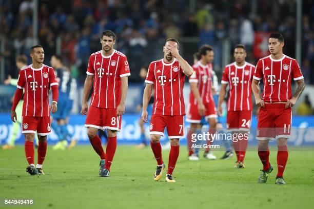 Thiago Alcantara Javi Martinez Franck Ribery and James Rodriguez of Bayern Muenchen dejected after the Bundesliga match between TSG 1899 Hoffenheim...