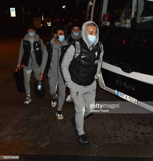 Thiago Alcantara, Mohamed Salah, Curtis Jones and Neco Williams of Liverpool arriving ahead of the Champions League match between Liverpool and RB...