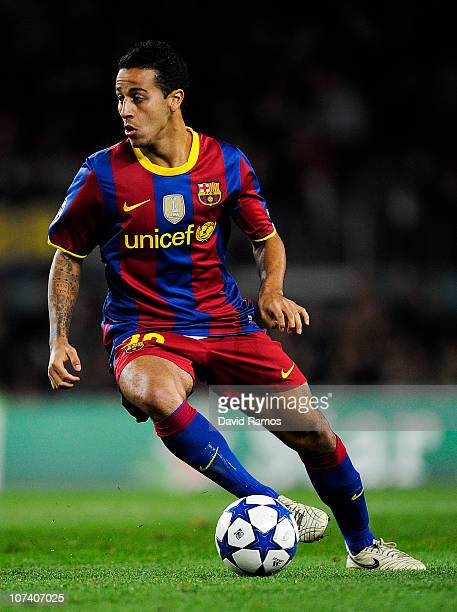 Thiago Alcantara of Barcelona runs with the ball during the Champions League match between Barcelona and Rubin Kazan at Camp Nou Stadium on December...