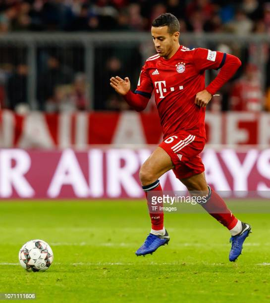 Thiago Alcantara of Bayern Muechen controls the ball during the Bundesliga match between FC Bayern Muenchen and 1. FC Nuernberg at Allianz Arena on...