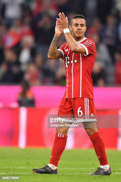 Thiago Alcantara of Bayern Muenchen applauds after the Bundesliga match between FC Bayern Muenchen and Borussia Moenchengladbach at Allianz Arena on...