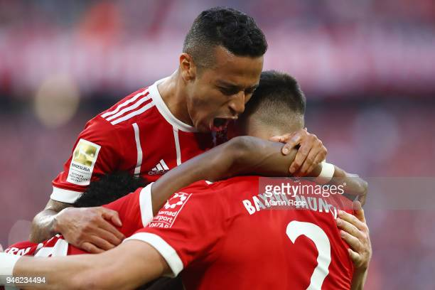 Thiago Alcantara of Bayern Muenchen celebrates after Sandro Wagner of Muenchen scored a goal to make it 21 during the Bundesliga match between FC...