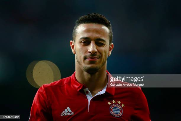 Thiago Alcantara of Bayern Muenchen gestures during the UEFA Champions League Quarter Final second leg match between Real Madrid CF and FC Bayern...