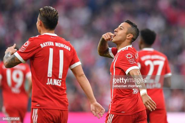 Thiago Alcantara of Bayern Muenchen is celebrates after he scored a goal to make it 31 during the Bundesliga match between FC Bayern Muenchen and...