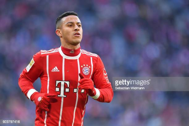 Thiago Alcantara of Bayern Muenchen looks on during the Bundesliga match between FC Bayern Muenchen and Hertha BSC at Allianz Arena on February 24...