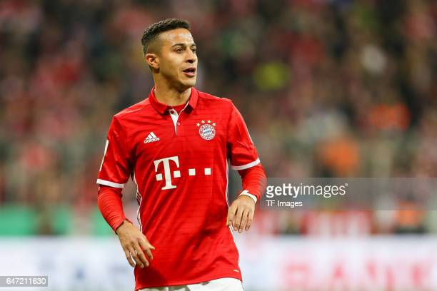 Thiago Alcantara of Bayern Muenchen looks on during the DFB Cup quarter final between Bayern Muenchen and FC Schalke 04 at Allianz Arena on March 1...