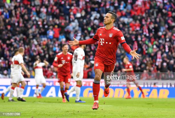 Thiago Alcantara of Bayern Munich celebrates after scoring his team's first goal during the Bundesliga match between FC Bayern Muenchen and VfB...