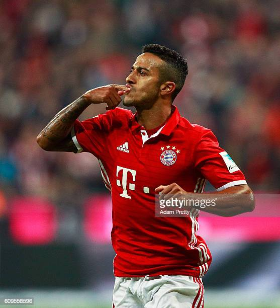 Thiago Alcantara of Bayern Munich celebrates scoring a goal during the Bundesliga match between Bayern Muenchen and Hertha BSC at Allianz Arena on...
