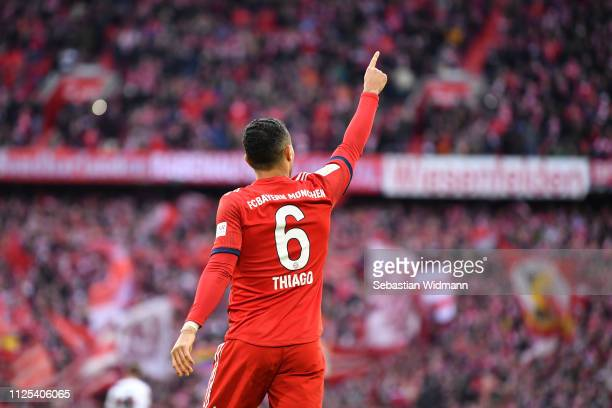 Thiago Alcantara of Bayern Munich celebrates scoring his team's first goal during the Bundesliga match between FC Bayern Muenchen and VfB Stuttgart...