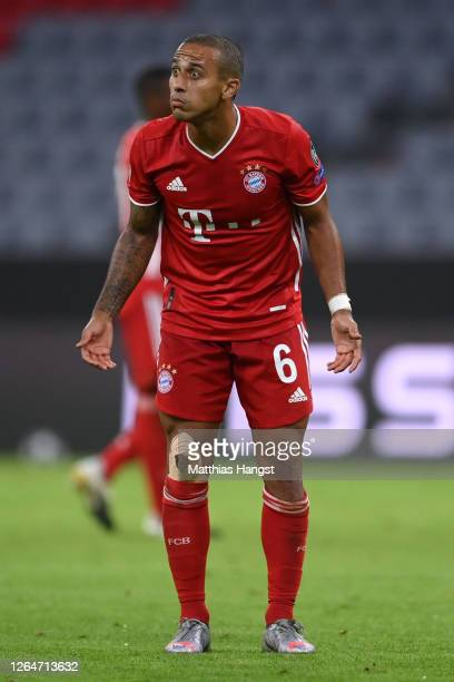 Thiago Alcantara of Bayern Munich reacts during the UEFA Champions League round of 16 second leg match between FC Bayern Muenchen and Chelsea FC at...