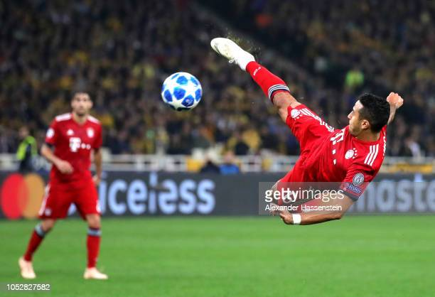 Thiago Alcantara of Bayern Munich shoots during the Group E match of the UEFA Champions League between AEK Athens and FC Bayern Muenchen at Athens...