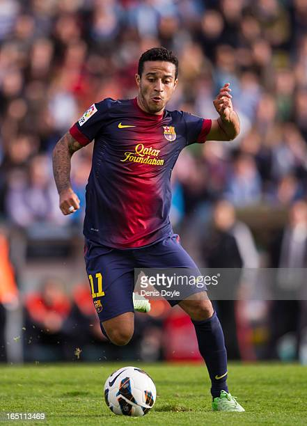 Thiago Alcantara of FC Barcelona in action during the La Liga match between RC Celta de Vigo and FC Barcelona at Estadio Balaidos on March 30 2013 in...