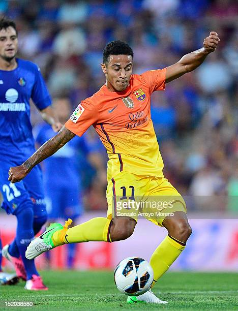 Thiago Alcantara of FC Barcelona strikes the ball during the La Liga match between Getafe CF and FC Barcelona at Coliseum Alfonso Perez on September...