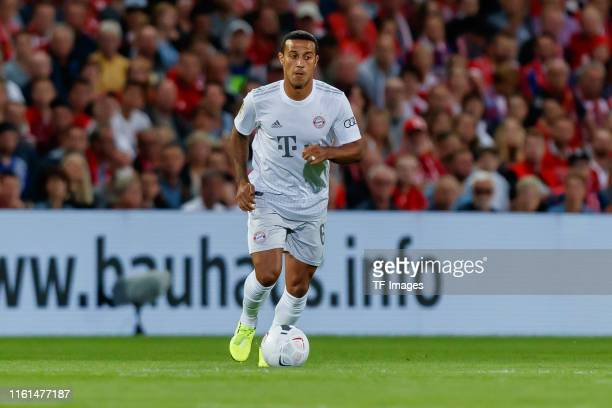 Thiago Alcantara of FC Bayern Muenchen controls the ball during the DFB Cup first round match between Energie Cottbus and FC Bayern Muenchen at...