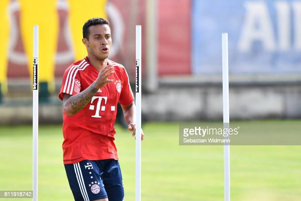 Thiago Alcantara of FC Bayern Muenchen in action during a training session at Saebener Strasse training ground on July 10 2017 in Munich Germany