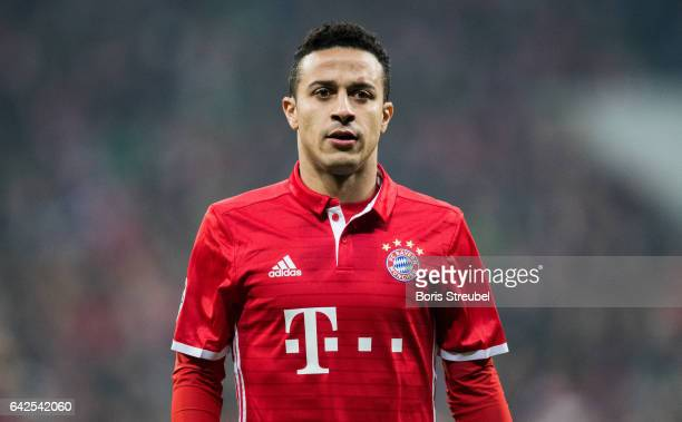 Thiago Alcantara of FC Bayern Muenchen looks on during the UEFA Champions League Round of 16 first leg match between FC Bayern Muenchen and Arsenal...