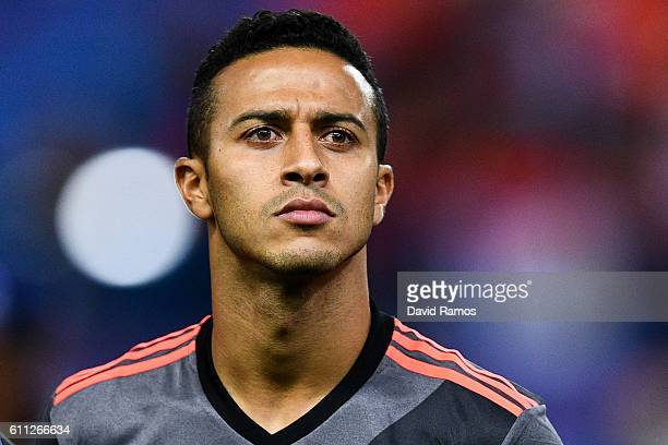 Thiago Alcantara of FC Bayern Muenchen looks on prior to the UEFA Champions League Group D match between Club Atletico de Madrid and FC Bayern...