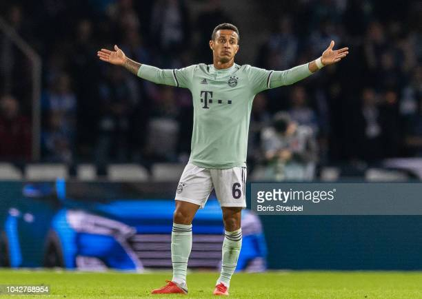 Thiago Alcantara of FC Bayern Muenchen reacts during the Bundesliga match between Hertha BSC and FC Bayern Muenchen at Olympiastadion on September 28...