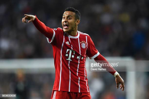 Thiago Alcantara of FC Bayern Muenchen reacts during the UEFA Champions League Semi Final Second Leg match between Real Madrid and Bayern Muenchen at...