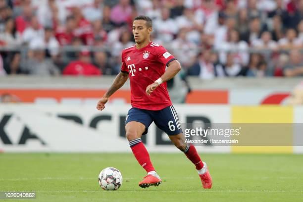 Thiago Alcantara of FC Bayern Muenchen runs with the ball during the Bundesliga match between VfB Stuttgart and FC Bayern Muenchen at MercedesBenz...