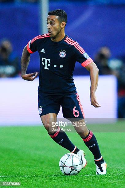 Thiago Alcantara of FC Bayern Muenchen runs with the ball during the UEFA Champions League semi final first leg match between Club Atletico de Madrid...