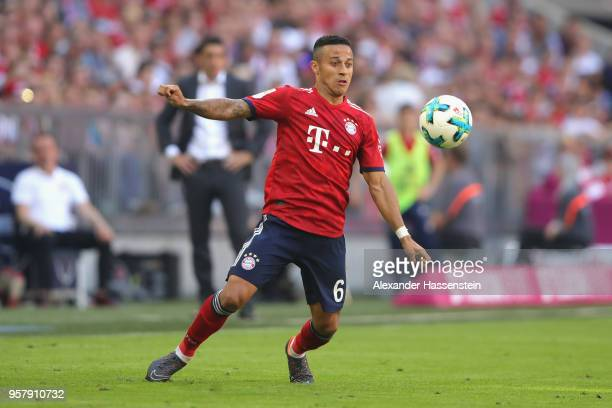Thiago Alcantara of FC Bayern Muenchen runs with the ball during the Bundesliga match between FC Bayern Muenchen and VfB Stuttgart at Allianz Arena...