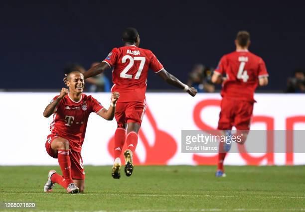 Thiago Alcantara of FC Bayern Munich celebrates after his team's first goal during the UEFA Champions League Final match between Paris Saint-Germain...