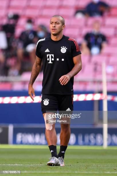 Thiago Alcantara of FC Bayern Munich looks on during a training session ahead of their UEFA Champions League Final match against Paris Saint-Germain...