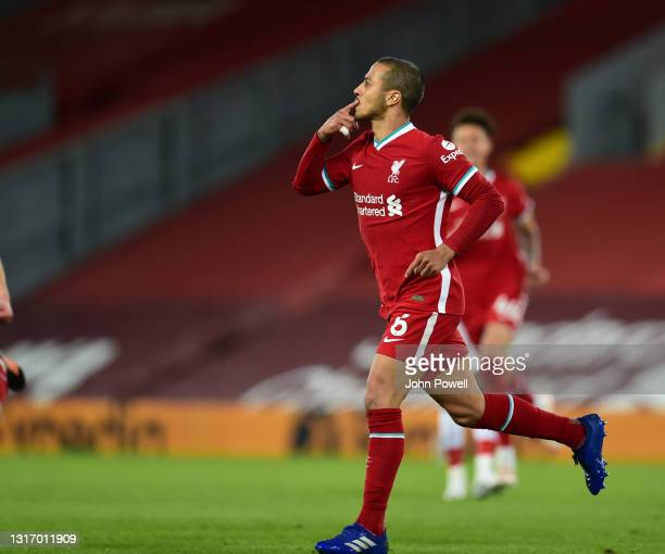 Thiago Alcantara of Liverpool celebrates after scoring the second goal during the Premier League match between Liverpool and Southampton at Anfield...