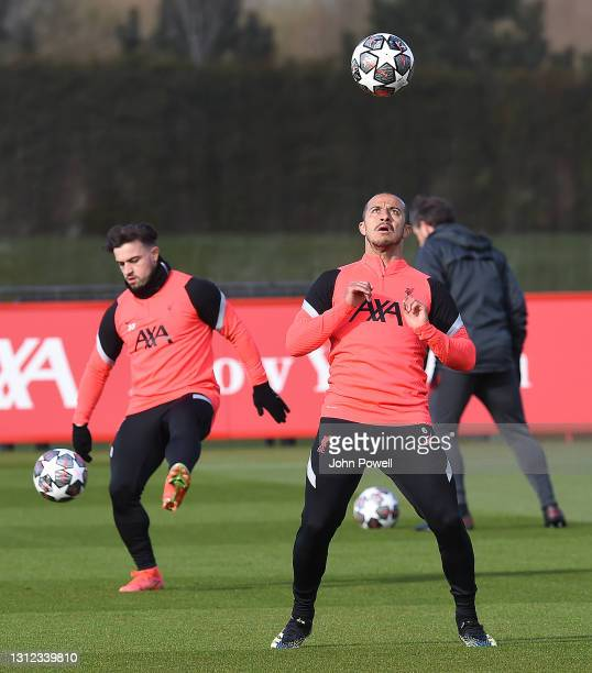Thiago Alcantara of Liverpool during a training session at AXA Training Centre on April 13, 2021 in Kirkby, England.