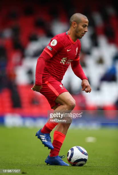 Thiago Alcantara of Liverpool during the Premier League match between Liverpool and Crystal Palace at Anfield on May 23, 2021 in Liverpool, England.